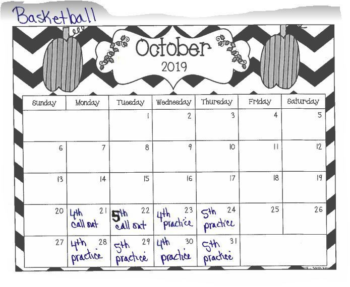 Girls Basketball Calendar