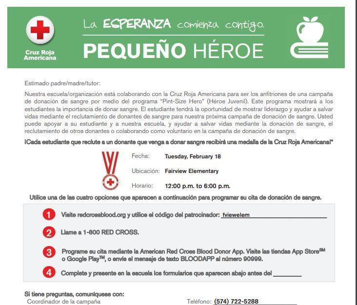 Red Cross Blood Drive English and Spanish