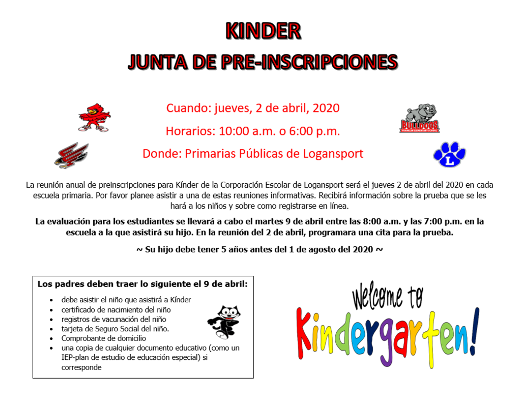 Kindergarten Round Up Spanish Flyer