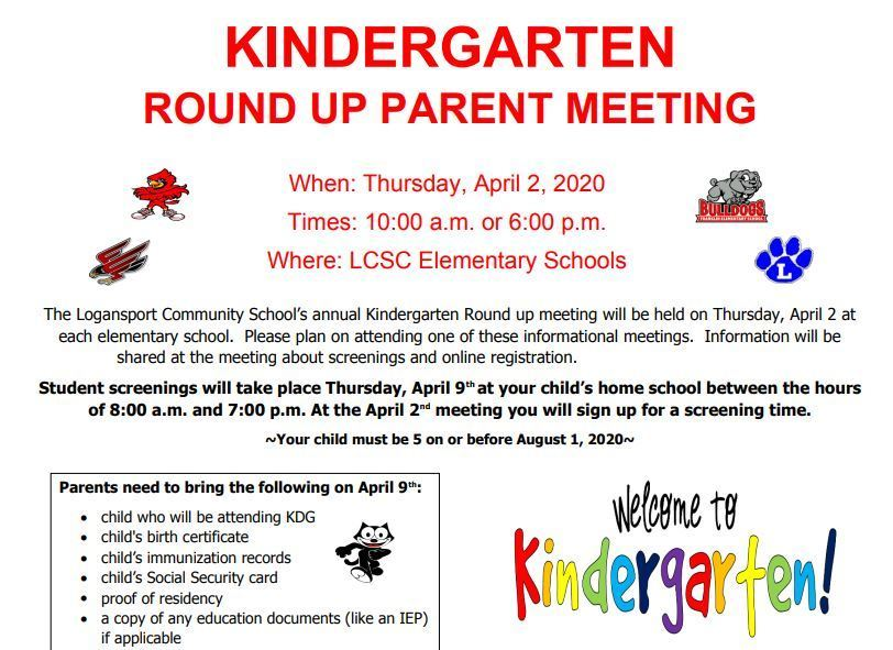 Kindergarten Round Up Info. in English