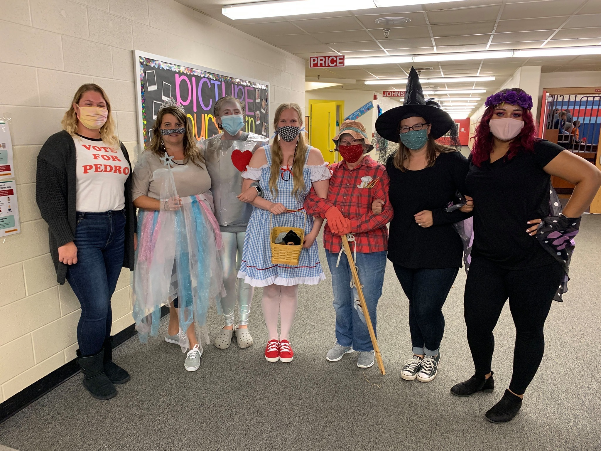 Franklin Elementary Staff dresses up for media day during spirit week.