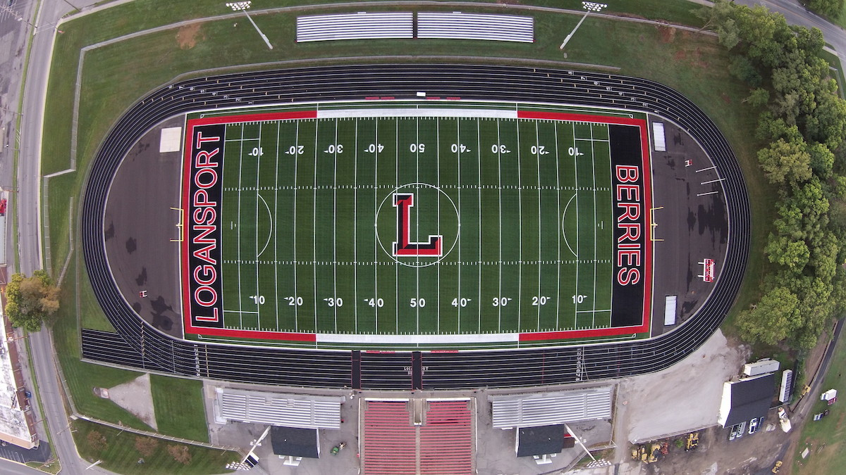 overhead view of football field