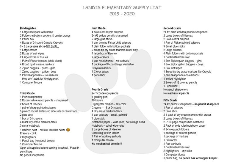 2019/2020 Supply List