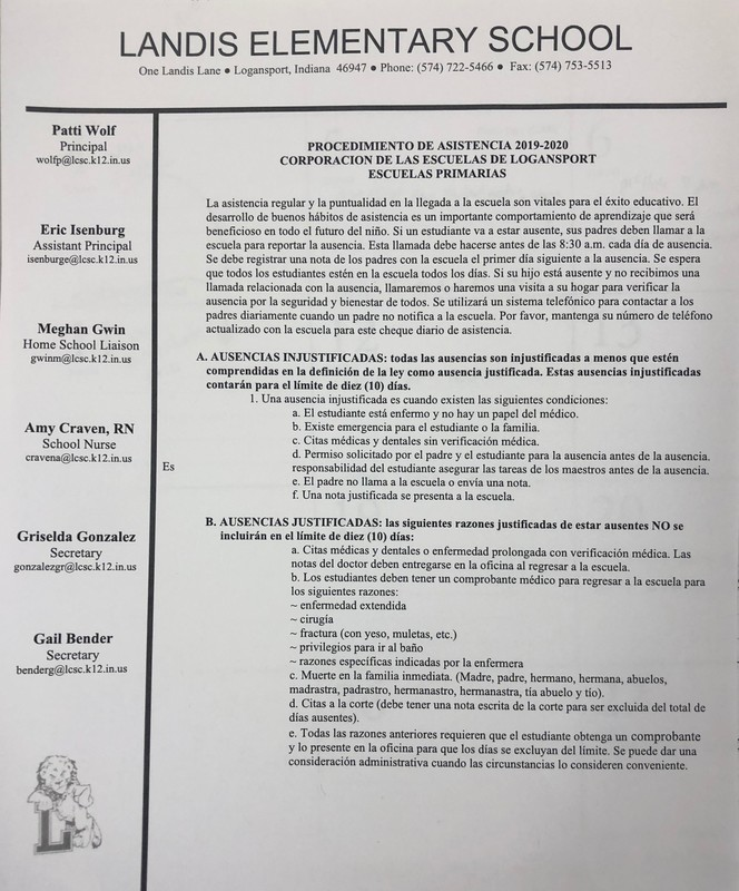 Attendance Policy (Spanish)